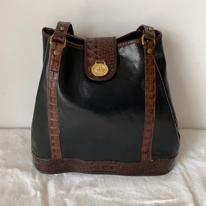 Brahmin Black and Brown Leather Bucket Bag/Purse with Adjustable Straps